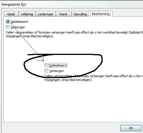 celbeveiliging in Excel - stap 2/4