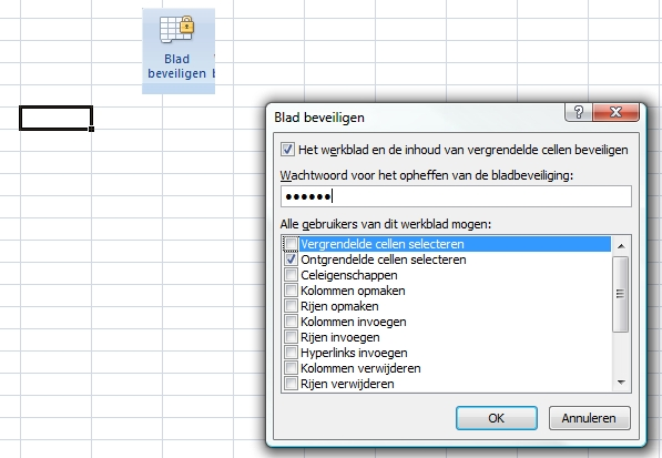 celbeveiliging in Excel - stap 4/4