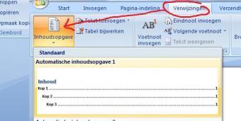 MS Word - automatische inhoudsopgave via verwijzingen