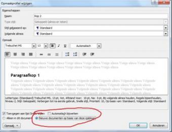 MS Word - opmaak kopstijl standaard/blijvend veranderen